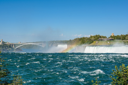 Niagara Falls, horseshoe and Rainbow Stock Photo