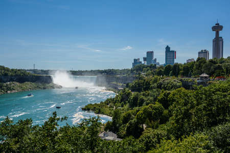 Niagara Falls, view from Rainbow Bridge on border of Canada and United States Stock Photo