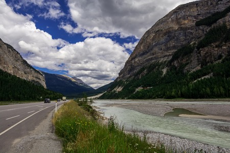 Rocky Mountains. Canada. Icefields parkway, Sunwapta river Stock Photo