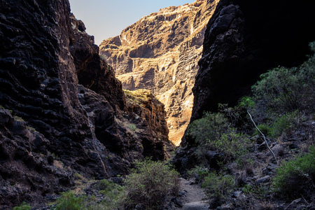Hiking in Gorge Masca. beautiful path along the gorge to the ocean. Mountains of the island of Tenerife, Canary Island, Spain.