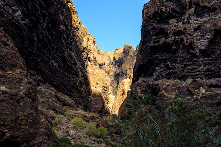 Hiking in Gorge Masca. Volcanic island. Mountains of the island of Tenerife, Canary Island, Spain. Stock fotó