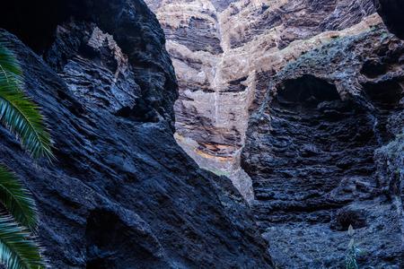 Hiking in Gorge Masca. Volcanic island. Mountains of the island of Tenerife, Canary Island, Spain. Stok Fotoğraf