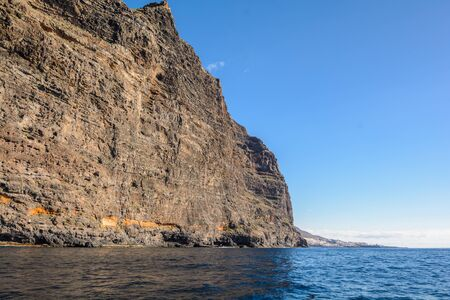 view from the boat to Los Gigantes rock at Tenerife island - Canary Spain