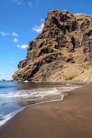 Beautiful and quiet Beach Masca. Hiking in Gorge Masca. Volcanic island. Mountains of the island of Tenerife, Canary Island, Spain