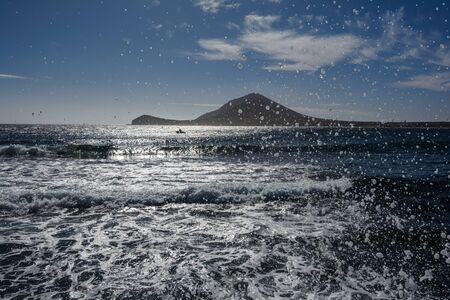 Beautiful view of the mountain. Beautiful view of the ocean. Tenerife, Canary islands, Spain.
