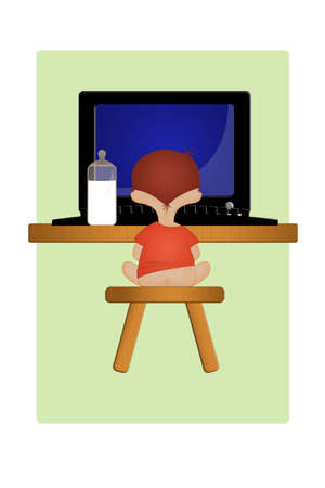 The kid sits in front of the computer. An illustration illustration