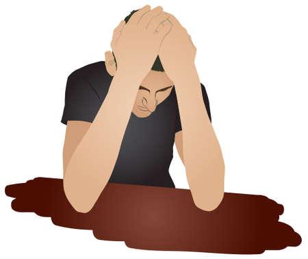 L'uomo disperato si siede a un tavolo e tiene le mani una testa