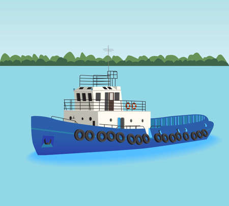 goes: The tugboat goes on the river Illustration