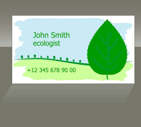 the business card with symbols of green environment: a leaf and trees Vector
