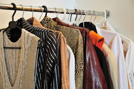 clothing rack: clothes in the wardrobe