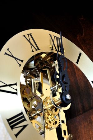 past midnight: Close up of mechanical clock