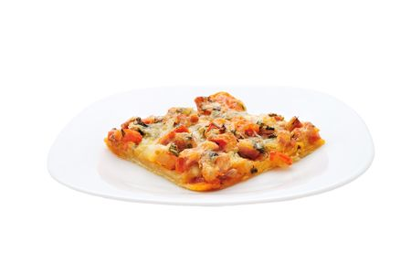 Isolated piece of pizza on a plate photo