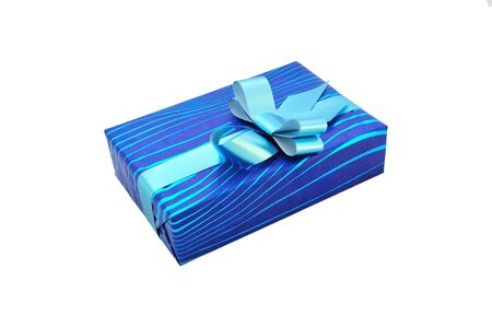 Isolated blue gift with a bow and ribbon photo