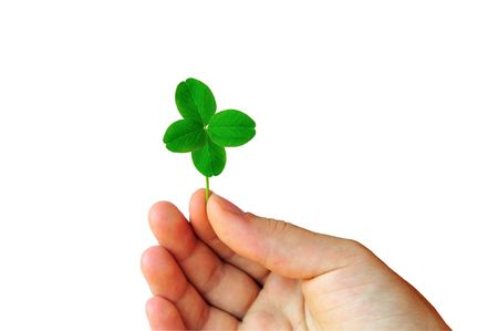 Isolated hand with green four leaf clover photo
