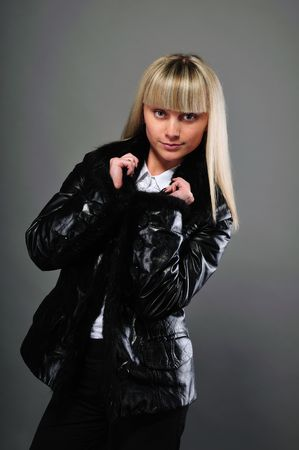 Portrait of the girl in a black jacket photo