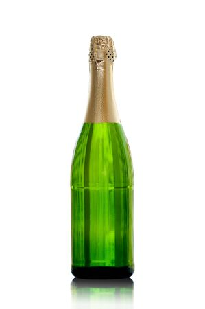 champagne bottle: isolated bottle of champagne with the reflection