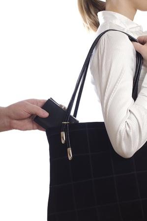 ladron: robo de un bolso de la bolsa en blanco