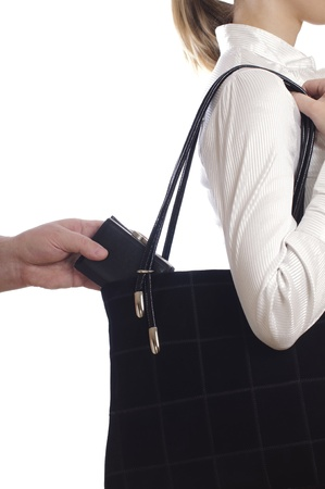 stealing: stealing a purse from the bag on white