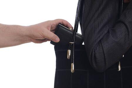 arracher: vol de sac � main dans le sac sur fond blanc Banque d'images