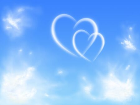 two hearts in the sky with clouds photo