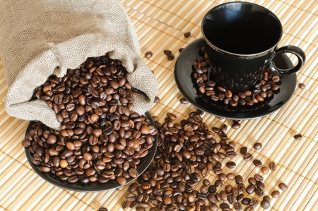 cooffee beans with black cup and sack Stock Photo - 9652594