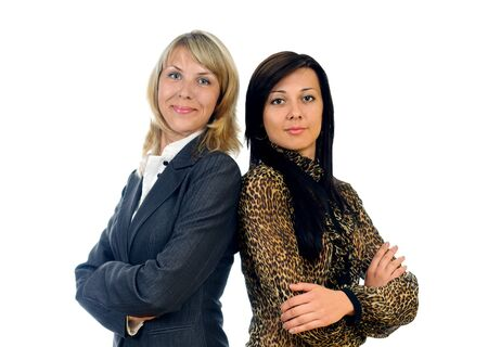 two isolated young and pretty business women photo