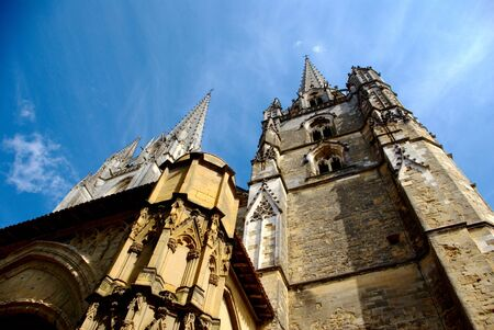 Low-angle view of Bayonne cathedral 写真素材
