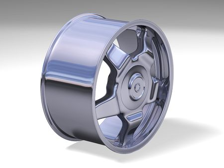 Chrome steel rim Banco de Imagens - 6251170
