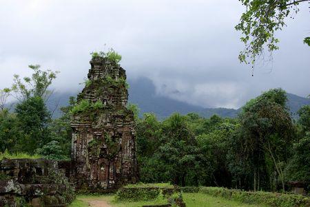 Cham ruins in lush vegetation