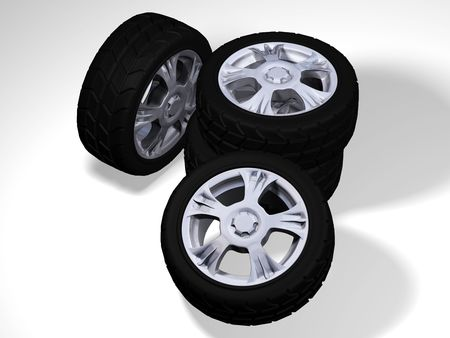 Four wheels with tyres photo