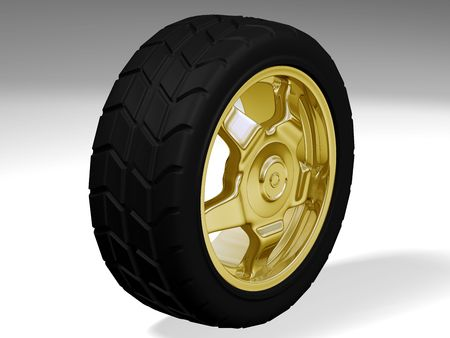 Golden sport wheel Stock Photo