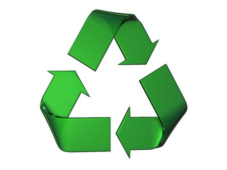 Big green and relief recycle's logo on a white background
