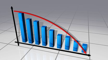 Bars and curve business chart that go down Stock Photo