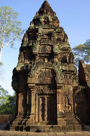 One tower of the Prasat Kravan temple in Angkor Stock Photo