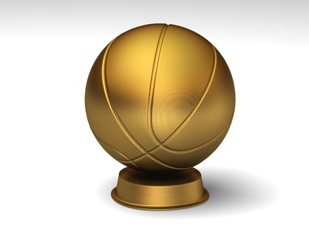 Closeup on a golden basketball trophy Banco de Imagens
