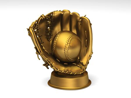 Close-up on a golden baseball glove with a ball 写真素材
