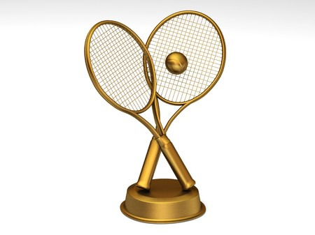 Close-up on a golden tennis trophy