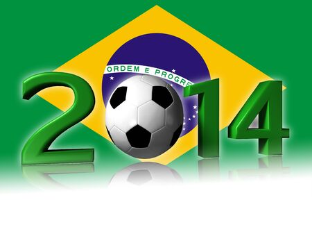 Big 2014 soccer logo with brazil flag in background Stock Photo