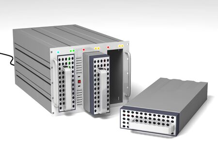 Data server with one hard-disk online, two other offline with one on the floor Stock Photo - 7157180