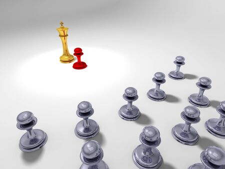 undisciplined: Little red pawn in front of a big golden king with grey pawn in the background