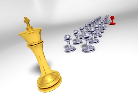 undisciplined: Big golden king in front of grey pawn ranks with one red pawn out of ranks Stock Photo