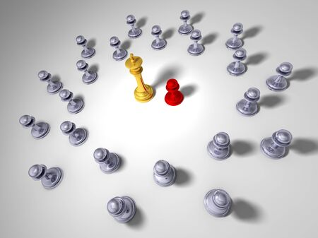 undisciplined: Little red pawn in front of a big golden king with grey pawn all around them Stock Photo