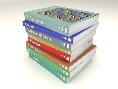 Multi-colored french school books stack of many matters Stock Photo - 7485415