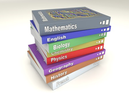 matters: Colored english school books stack of many matters Stock Photo