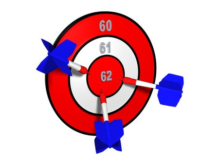 elongation: Target with different retirement numbers and three french darts in the centre Stock Photo