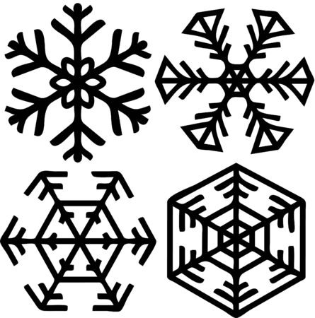 Four different snow flakes