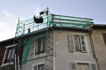 Detail of a scaffolding fixed on a fa�ade 写真素材