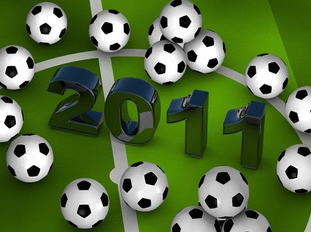 Many soccerballs with 2011 in center on a green playground Stock Photo - 8104544