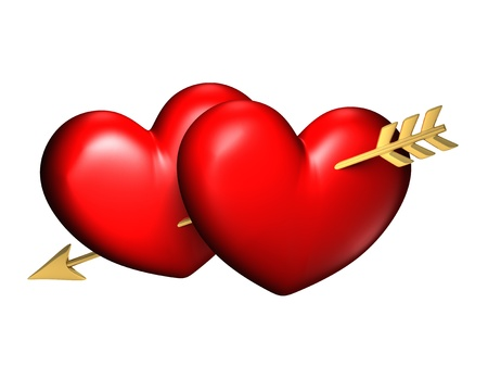 Two big red and chubby hearts with one golden arrow