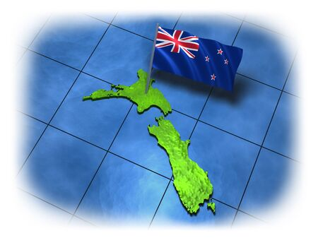 New Zealand country with its flag and piece of sea on a white background Banco de Imagens - 8669083